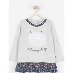 Koszulka. Szare bluzki dziewczęce bawełniane MUMMY SHEEP, z aplikacjami, z falbankami, z długim rękawem. Za 49,90 zł.