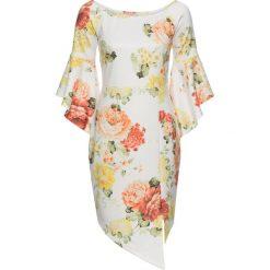 Sukienki: Sukienka w kwiatowy deseń bonprix biało-pomarańczowo-żólty