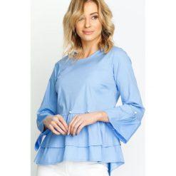 Niebieska Bluzka Shangri-la. Niebieskie bluzki asymetryczne Born2be, s, z falbankami, z długim rękawem. Za 59,99 zł.