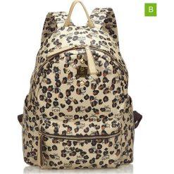 Plecaki damskie: Skórzany plecak w kolorze beżowym – 37 x 32 x 15 cm