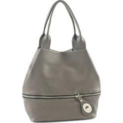 Torebki klasyczne damskie: Skórzana torebka w kolorze szarym – (G)19 cm