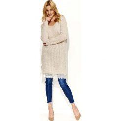 Tuniki damskie z długim rękawem: Beżowy Sweter Tunika z Koronkową Wypustką