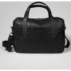 Torby na ramię męskie: Skórzana torba w kolorze czarnym na laptop - 43 x 42 x 13 cm