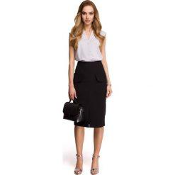 Spódniczki: Czarna Ołówkowa Spódnica za Kolano z Kieszeniami z Patką