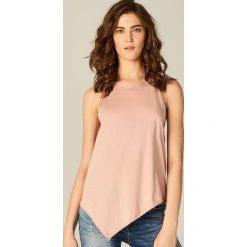 Bluzki, topy, tuniki: Bawełniany asymetryczny top – Różowy