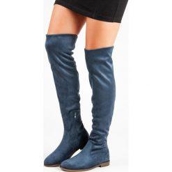 NIEBIESKIE ZAMSZOWE MUSZKIETERKI. Niebieskie buty zimowe damskie SUPER ME, z zamszu. Za 109,90 zł.