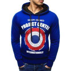 Bluzy męskie: Bluza męska z kapturem niebieska (bx0955)