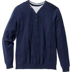 Sweter 2 w 1 Regular Fit bonprix ciemnoniebieski. Niebieskie swetry klasyczne męskie bonprix, l. Za 59,99 zł.
