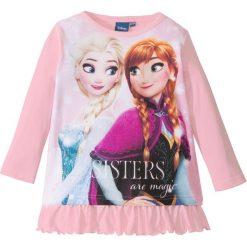 """Koszulka z długim rękawem i falbaną """"Kraina lodu"""" bonprix pudrowy jasnoróżowy z nadrukiem. Białe bluzki dziewczęce marki FOUGANZA, z bawełny. Za 37,99 zł."""