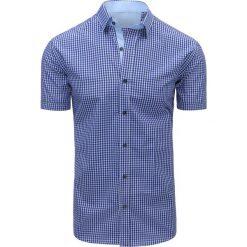 Koszule męskie na spinki: Biało-niebieska koszula męska w kratę (kx0804)