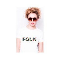 Koszulka damska FOLK. Białe t-shirty damskie Tailormade24, s, z nadrukiem, z bawełny. Za 45,00 zł.