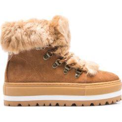 Sixtyseven - Botki. Brązowe buty zimowe damskie Sixtyseven, z materiału, z okrągłym noskiem, na obcasie. W wyprzedaży za 219,90 zł.