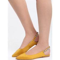 Baleriny damskie lakierowane: Żółte Balerinki Stargazing