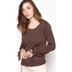 Kardigany damskie: Sweter z okrągłym dekoltem, 55% bawełny