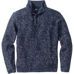 Swetry męskie: Sweter melanżowy ze stójką Regular Fit bonprix ciemnoniebiesko-ciemnoczerwono-biały melanż