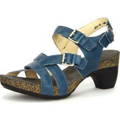 """Rzymianki damskie: Skórzane sandały """"Traudi"""" w kolorze morskim"""