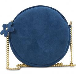 """Skórzana torebka """"Marisol"""" w kolorze niebieskim - 19 x 19 x 3 cm. Niebieskie torebki klasyczne damskie Spécial maroquinerie, w paski, z materiału. W wyprzedaży za 99,95 zł."""