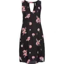Sukienki: Sukienka z dekoltem z tyłu bonprix czarno-jasnoróżowy w kwiaty