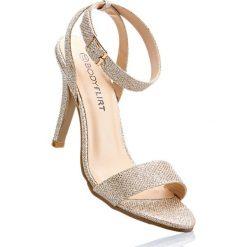 Sandały bonprix różowy metaliczny. Czerwone rzymianki damskie bonprix, w paski. Za 89,99 zł.