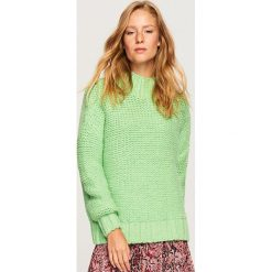 Sweter z grubym splotem - Zielony. Żółte swetry klasyczne damskie marki ekoszale, ze splotem. Za 119,99 zł.