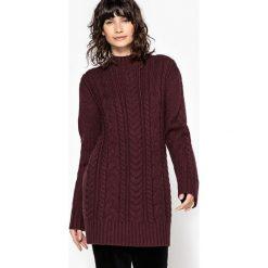 Sweter tunika, wełna. Brązowe tuniki damskie La Redoute Collections, l, z wełny, ze stójką, z długim rękawem. Za 283,46 zł.