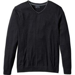 Swetry męskie: Sweter z kaszmirem i dekoltem w serek, Regular Fit bonprix czarny