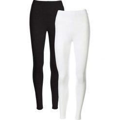 Spodnie damskie: Legginsy ze stretchem  (2 pary w opak.) bonprix biały + czarny