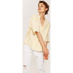 Bluzki asymetryczne: Bluzka z zakładką - Żółty