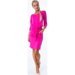 Amarantowa Sukienka Wiązana w Talii 9729. Czerwone sukienki Fasardi, l, oversize. Za 59,00 zł.