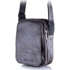 Torba na ramię listonoszka BRODRENE Ciemny brąz. Szare torby na ramię męskie marki Brødrene, w paski, ze skóry. Za 119,90 zł.
