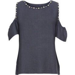 """Bluzka lniana z wycięciami na ramionach i perełkami bonprix ciemnoniebieski """"wytarty"""". Niebieskie bluzki z odkrytymi ramionami marki bonprix. Za 99,99 zł."""