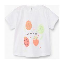 Mango Kids - Top dziecięcy Mariona 62-80 cm. Szare bluzki dziewczęce Mango Kids, z nadrukiem, z bawełny, z okrągłym kołnierzem, z krótkim rękawem. W wyprzedaży za 19,90 zł.