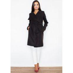 Płaszcze damskie: Czarny Elegancki Płaszcz Oversize Przewiązany Paskiem