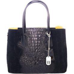 Shopper bag damskie: Skórzany shopper bag w kolorze czarnym - 40 x 33 x 16 cm