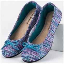 Baleriny damskie lakierowane: Tekstylne baleriny w prążki MCKEY niebieskie