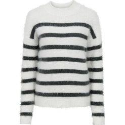 Sweter dzianinowy bonprix biel wełny - antracytowy w paski. Białe swetry klasyczne damskie bonprix, z dzianiny. Za 59,99 zł.