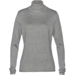 Sweter z golfem i kaszmirem bonprix szary melanż. Szare golfy damskie bonprix, melanż, z kaszmiru. Za 109,99 zł.