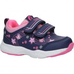 Granatowe buty sportowe na rzepy z kwiatkami Casu F-708. Szare buciki niemowlęce Casu, na rzepy. Za 59,99 zł.