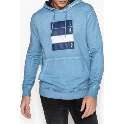 Bluza z kapturem i wzorem. Niebieskie kardigany męskie La Redoute Collections, l, z bawełny, z kapturem. Za 141,08 zł.