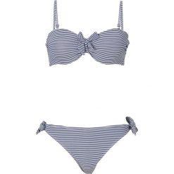 Bikini na fiszbinach bonprix ciemnoniebiesko-biały w paski. Niebieskie bikini bonprix, w paski. Za 89,99 zł.