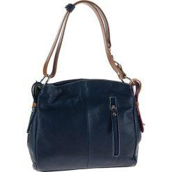 Torebki klasyczne damskie: Skórzana torebka w kolorze granatowym – 28 x 23 x 11 cm