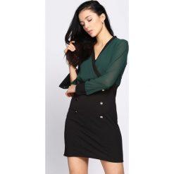 Zielono-Czarna Sukienka Preeminent. Czarne sukienki hiszpanki Born2be, s, mini, dopasowane. Za 69,99 zł.
