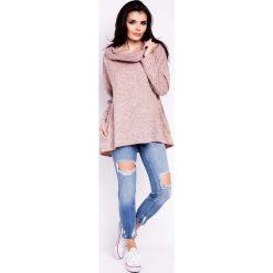 Bluzy damskie: Różowa Bluza Luźna z Kominem-Kapturem