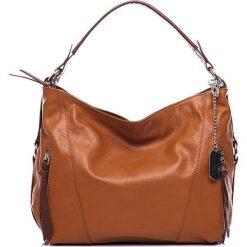 Torebki klasyczne damskie: Skórzana torebka w kolorze jasnobrązowym – 32 x 25 x 12 cm