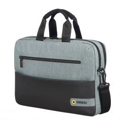 "American Tourister City Drift 15.6"" czarno-szara. Czarne torby na laptopa marki Samsonite, w paski. Za 169,00 zł."
