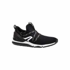 Buty męskie do szybkiego marszu PW 140 czarno-białe. Czarne buty fitness męskie marki NEWFEEL, z poliesteru. Za 79,99 zł.