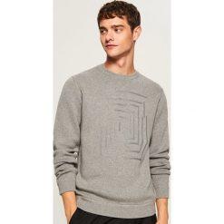 Sweter z nadrukiem - Jasny szar. Białe swetry klasyczne męskie marki Reserved, l. Za 119,99 zł.