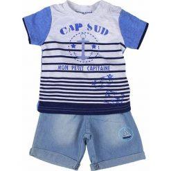 T-shirty chłopięce z nadrukiem: 2-częściowy zestaw w kolorze błękitnymo-białym