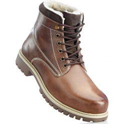 Buty zimowe męskie: Botki skórzane sznurowane bonprix brązowy