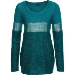 Sweter z metalicznym nadrukiem bonprix niebieskozielono-turkusowo-srebrny. Niebieskie swetry klasyczne damskie bonprix. Za 99,99 zł.